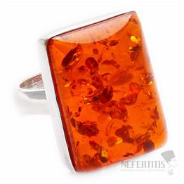 Jantar prsten stříbro Ag 925 R618