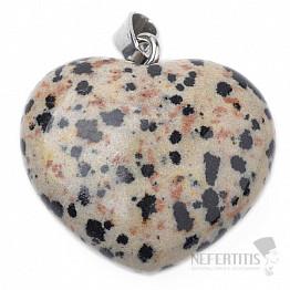 Jaspis dalmatin přívěsek srdíčko