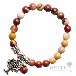 Jaspis Mokait náramek extra korálkový se stromem života