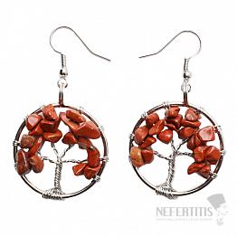 Jaspis červený náušnice Strom života