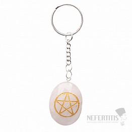 Křišťál klíčenka s pentagramem