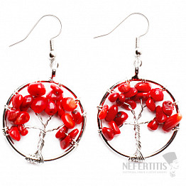 Korál červený náušnice Strom života