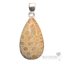 Korál fosilní indonéský přívěsek stříbro Ag 925 P179