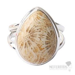 Korál fosilní indonéský prsten stříbro Ag 925 R106