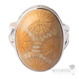 Korál fosilní indonéský prsten stříbro Ag 925 R75