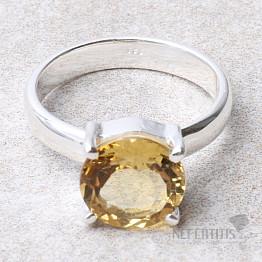 Křišťál medový prsten stříbro Ag 925 R2