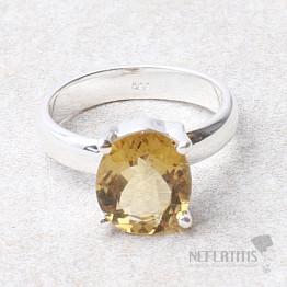 Křišťál medový prsten stříbro Ag 925 R32