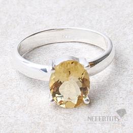 Křišťál medový prsten stříbro Ag 925 R58