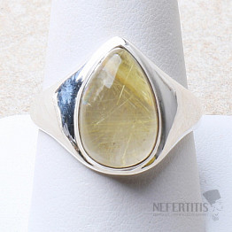 Sagenit křišťál s rutilem prsten stříbro Ag 925 R132