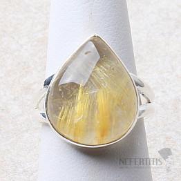 Sagenit křišťál s rutilem prsten stříbro Ag 925 R159