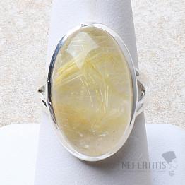 Sagenit křišťál s rutilem prsten stříbro Ag 925 R162