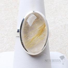 Sagenit křišťál s rutilem prsten stříbro Ag 925 R165