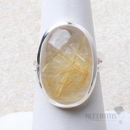 Sagenit křišťál s rutilem prsten stříbro Ag 925 R228