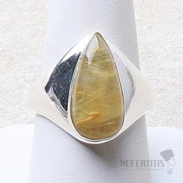 Sagenit křišťál s rutilem prsten stříbro Ag 925 R68