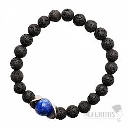 Lávový kámen a lapis lazuli v kovu náramek korálkový