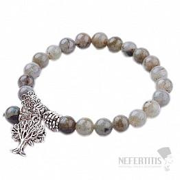 Labradorit náramek extra korálkový se Stromem života