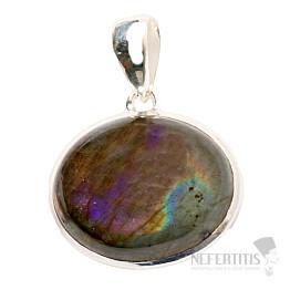 Labradorit purpurový přívěsek stříbro Ag 925 P596