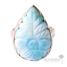 Larimar prsten stříbro s motivem květiny Ag 925 R4