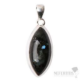 Larvikit černý měsíční kámen přívěsek stříbro Ag 925 P101