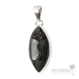 Larvikit černý měsíční kámen přívěsek stříbro Ag 925 P108