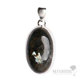 Larvikit černý měsíční kámen přívěsek stříbro Ag 925 P34