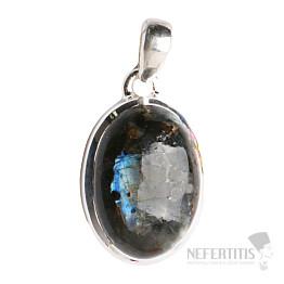 Larvikit černý měsíční kámen přívěsek stříbro Ag 925 P57