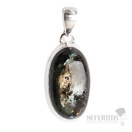 Larvikit černý měsíční kámen přívěsek stříbro Ag 925 P6