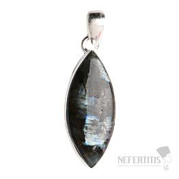 Larvikit černý měsíční kámen přívěsek stříbro Ag 925 P66