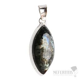Larvikit černý měsíční kámen přívěsek stříbro Ag 925 P72