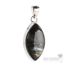 Larvikit černý měsíční kámen přívěsek stříbro Ag 925 P85