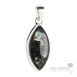Larvikit černý měsíční kámen přívěsek stříbro Ag 925 P95