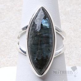 Larvikit černý měsíční kámen prsten stříbro Ag 925 R127
