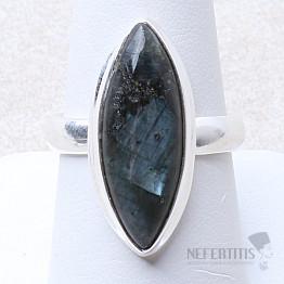 Larvikit černý měsíční kámen prsten stříbro Ag 925 R165