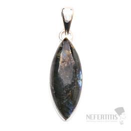 Larvikit černý měsíční kámen přívěsek stříbro Ag 925 P110