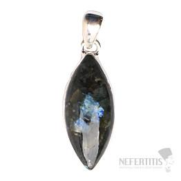 Larvikit černý měsíční kámen přívěsek stříbro Ag 925 P77