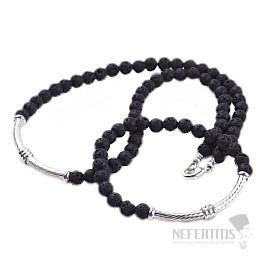 Lávový kámen a kov náhrdelník a náramek