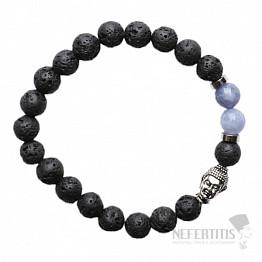 Lávový kámen a modrý křemen náramek buddhistický z korálků