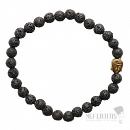 Náramek z lávového kamene s hlavou Buddhy zlatý