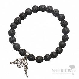 Lávový kámen náramek se srdíčkem a andělskými křídly