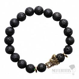 Náramek z lávového kamene s hlavou draka zlatý Bellezza Nera