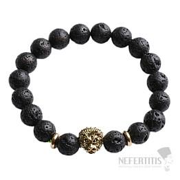 Náramek z lávového kamene s hlavou lva zlatý Bellezza Nera I