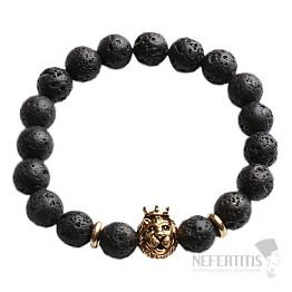 Náramek z lávového kamene s hlavou lva zlatý Bellezza Nera II