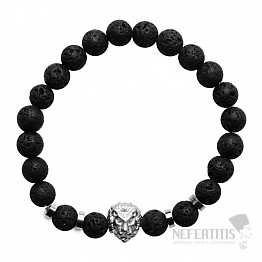Náramek z lávového kamene s hlavou lva stříbro