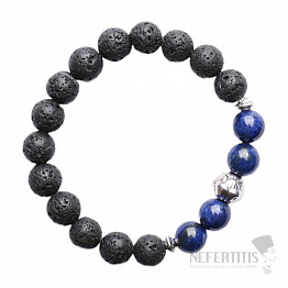 Lávový kámen náramek s velkými korálky lapisu lazuli