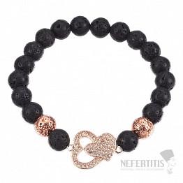 Náramek z lávového kamene se srdíčky v barvě růžového zlata Bellezza Nera