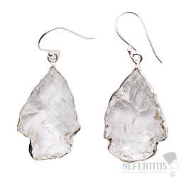 Lemurský krystal náušnice stříbro Ag 925 E26