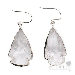 Lemurský krystal náušnice stříbro Ag 925 E28