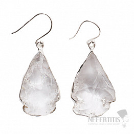 Lemurský krystal náušnice stříbro Ag 925 E32