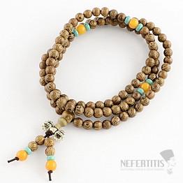 Japa Mala náhrdelník z korálků dřeva wenge s dorže