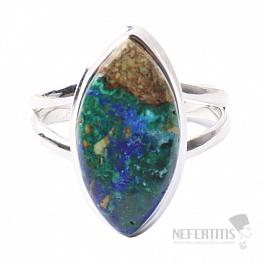 Malachit v azuritu prsten stříbro Ag 925 R156